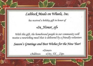 Example of the Christmas Tribute card that we send out.