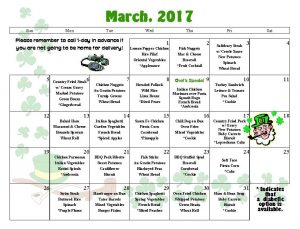 LMOW's March menu