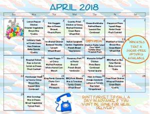 April, 2018 delivery menu